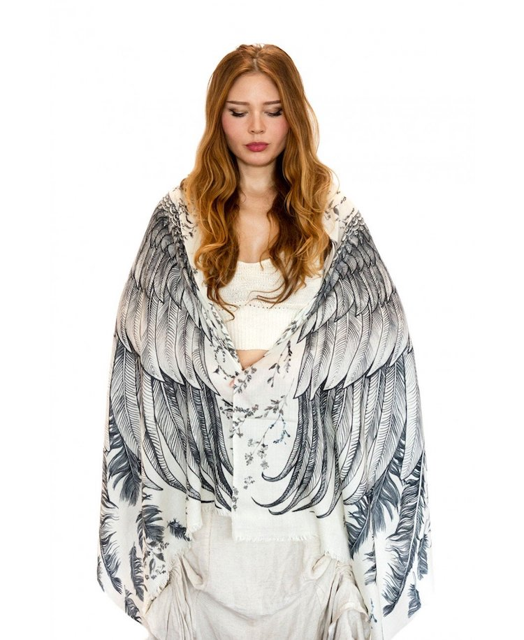 White Wings Bird Scarf by Shovava