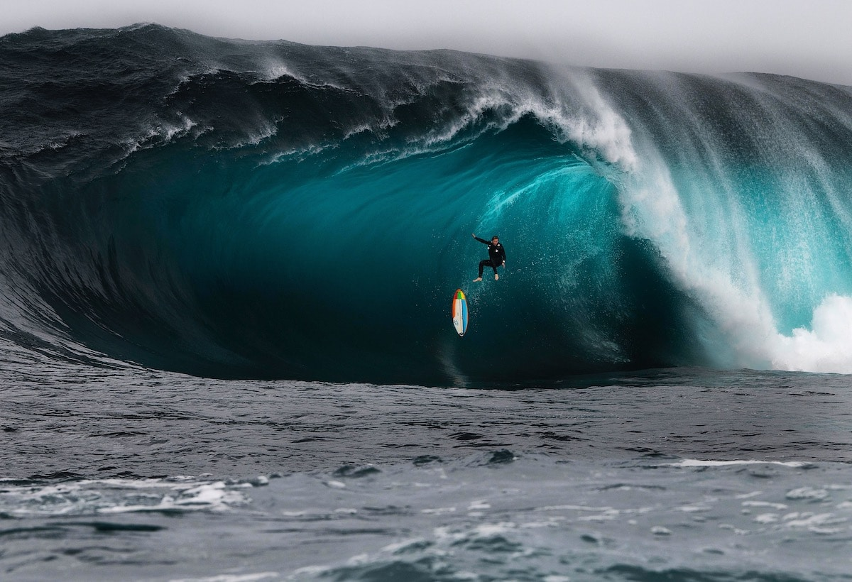 Surfer Riding a Big Wave