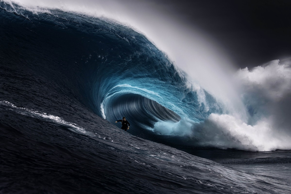 Surfer Riding the Inside of a Way by Ren McGann