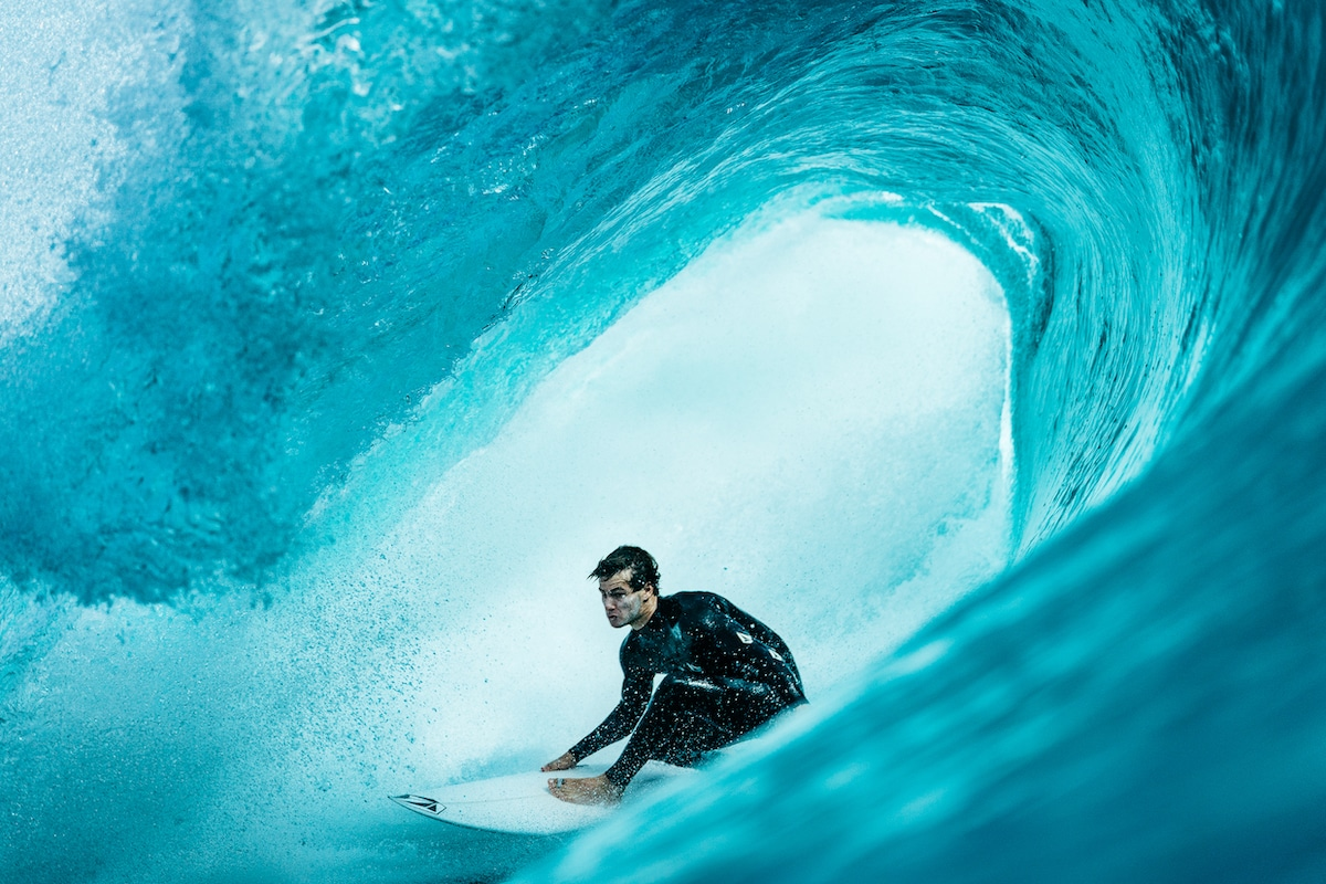 Close Up View of Surfer in a Wave