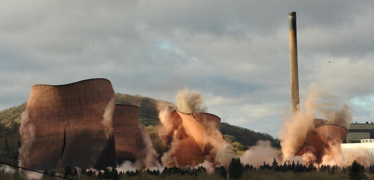 Demolition of Ironbridge Power Station in England