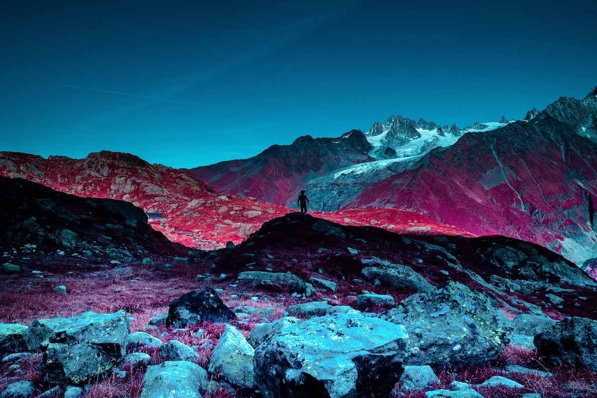 Infrared Photo of the Peaks of Chamonix