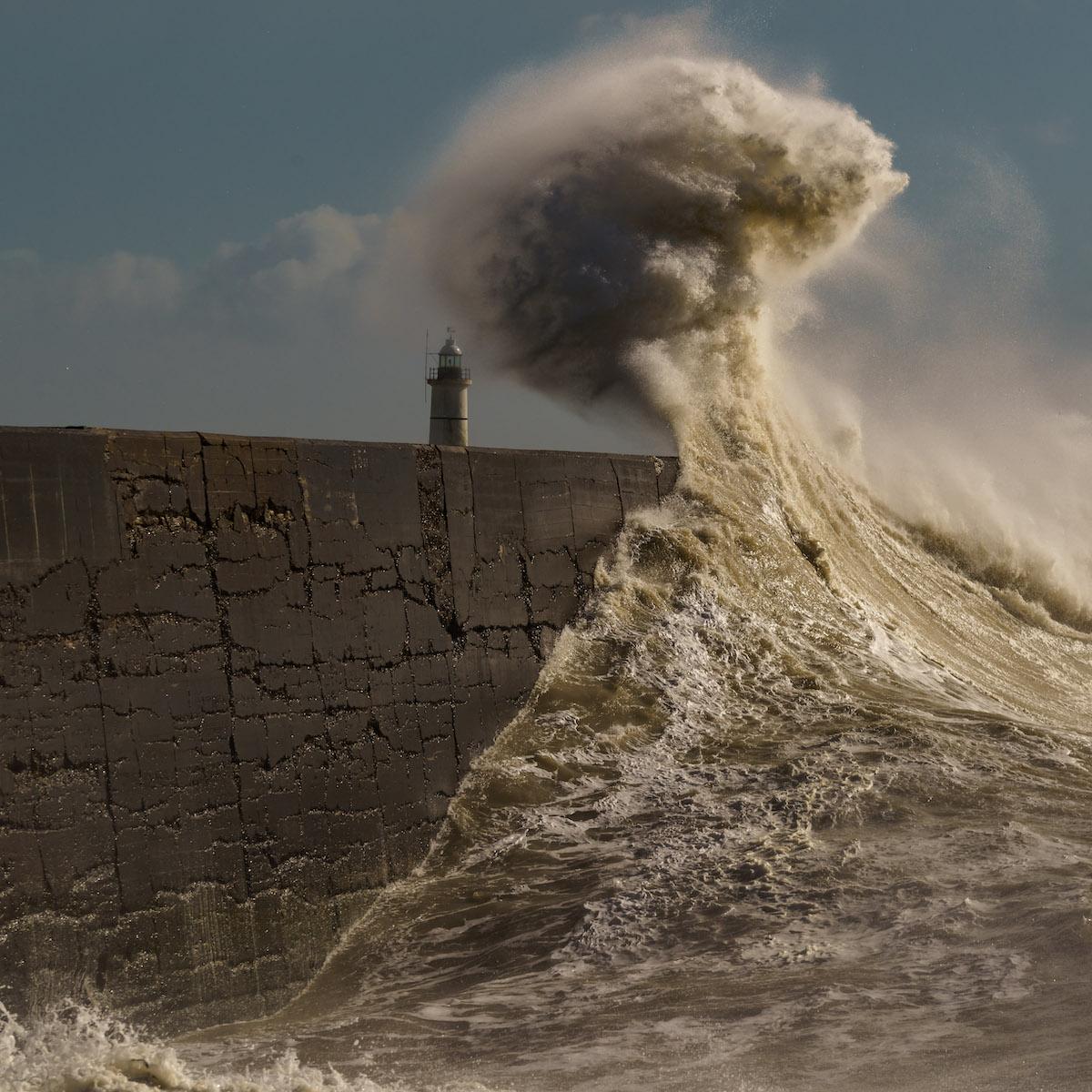 Wave Crashing into Harbor Wall at Newhaven