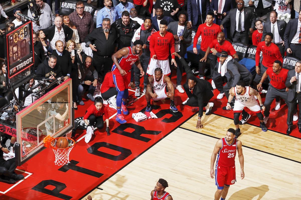 Kawhi Leonard watching his game-winning shot in the 2019 NBA Eastern Conference Semifinals