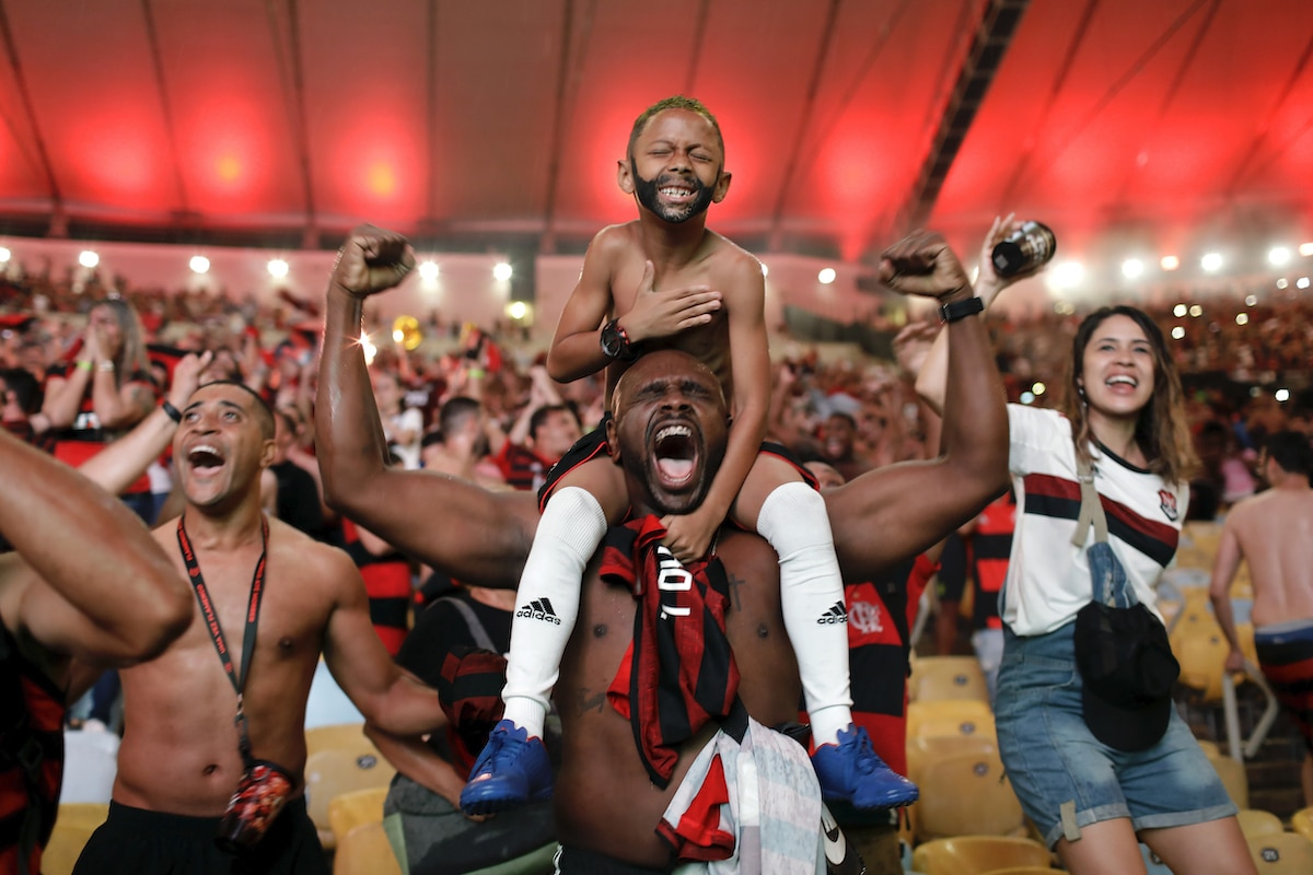 Fans of Brazil's Flamengo football team cheer