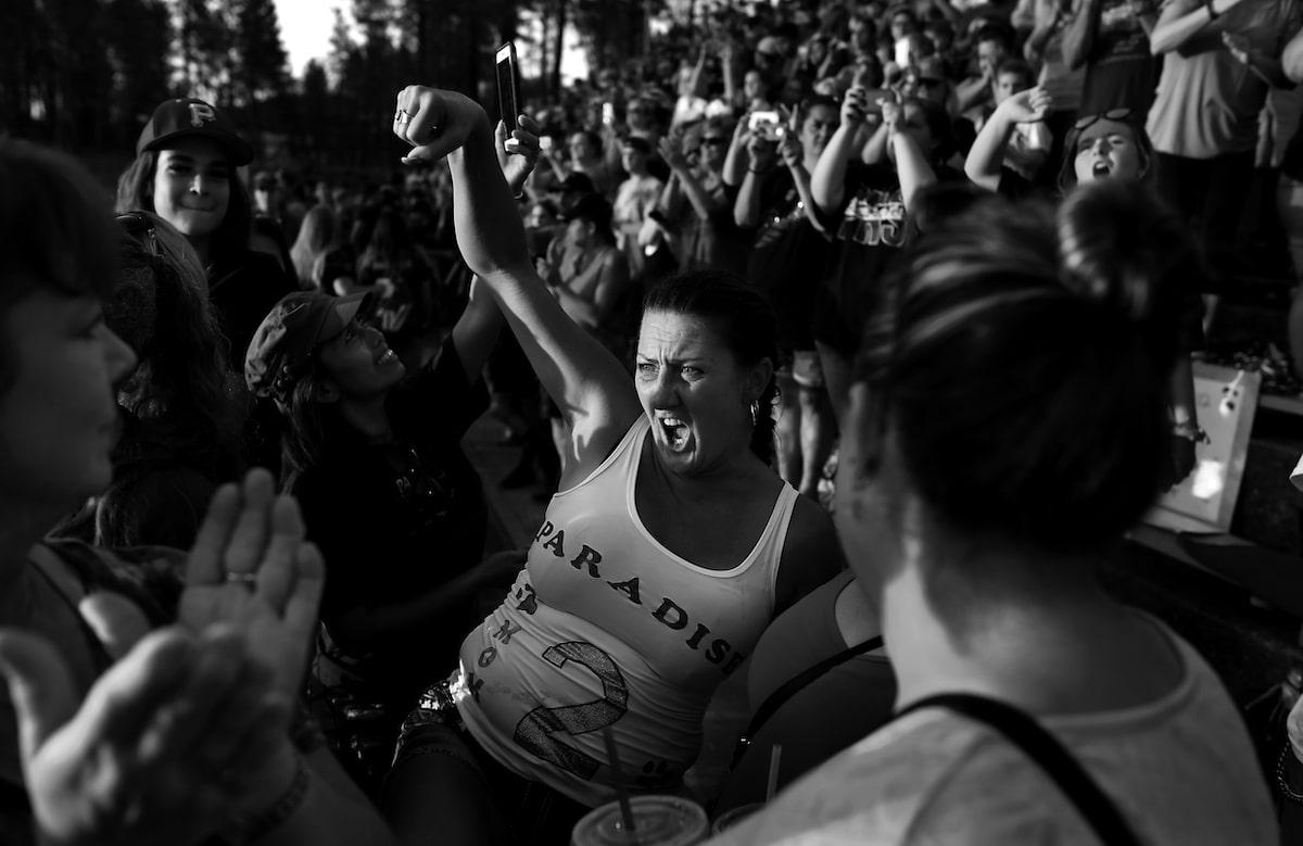 Woman Cheering at Football Game