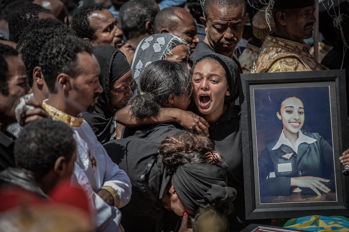 Mourning Relatives at a Funeral for Ethiopian Airlines Flight ET302