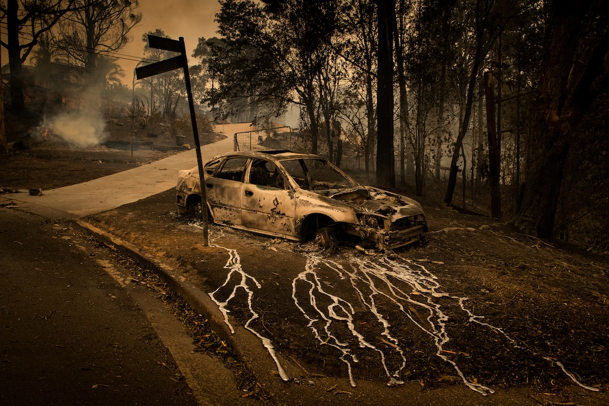 Burnt Car in Australia During the 2019 Bushfires