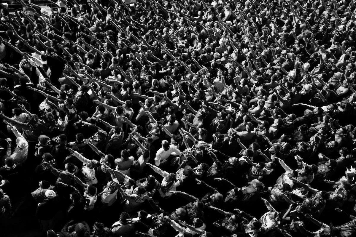 Protesters in Algeria