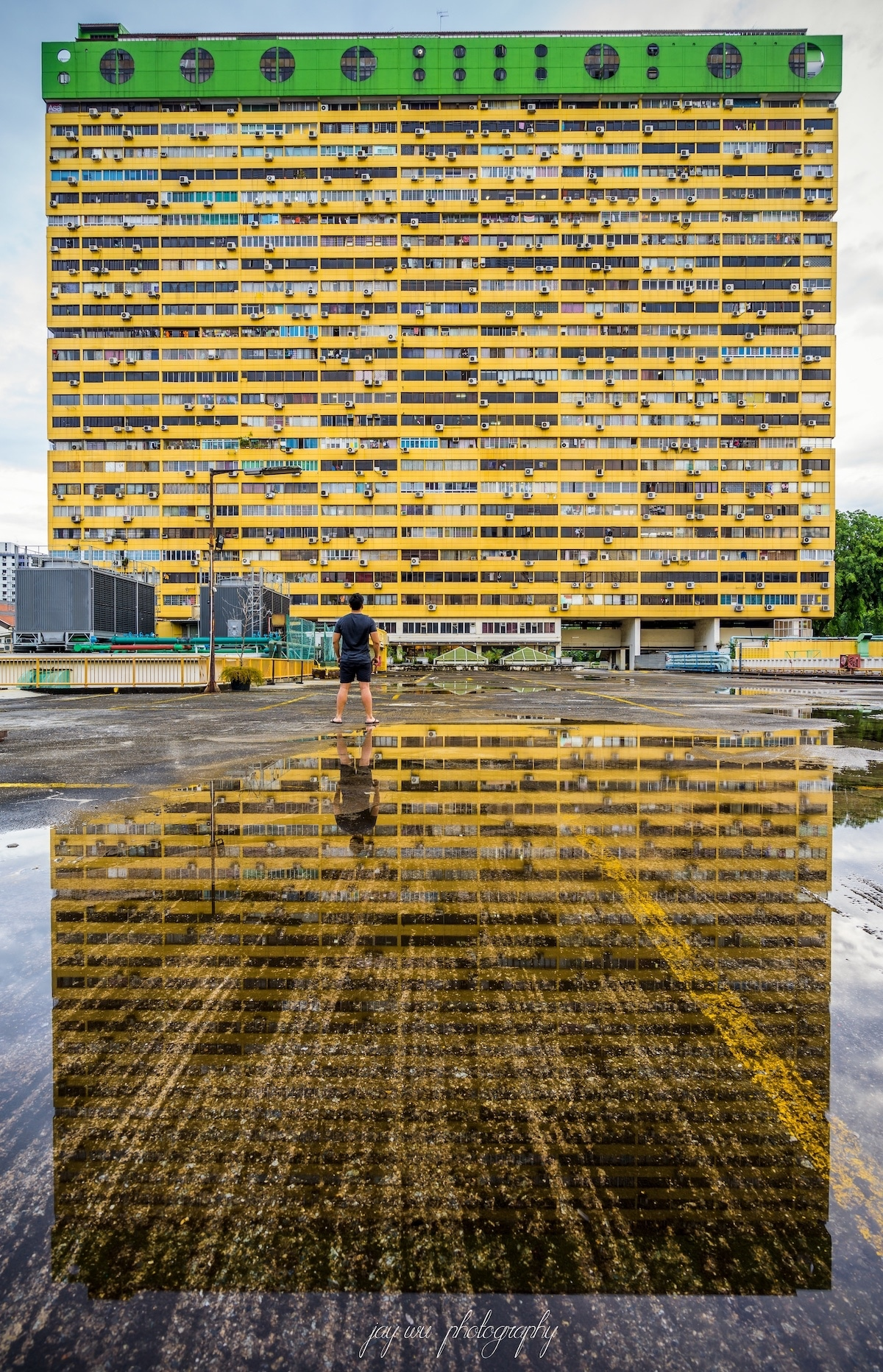 Yellow Building with Lots of Windows
