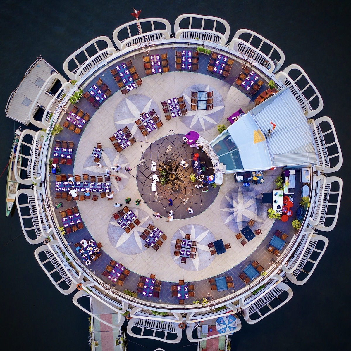 Aerial View of Floating Restaurant on the Huong River