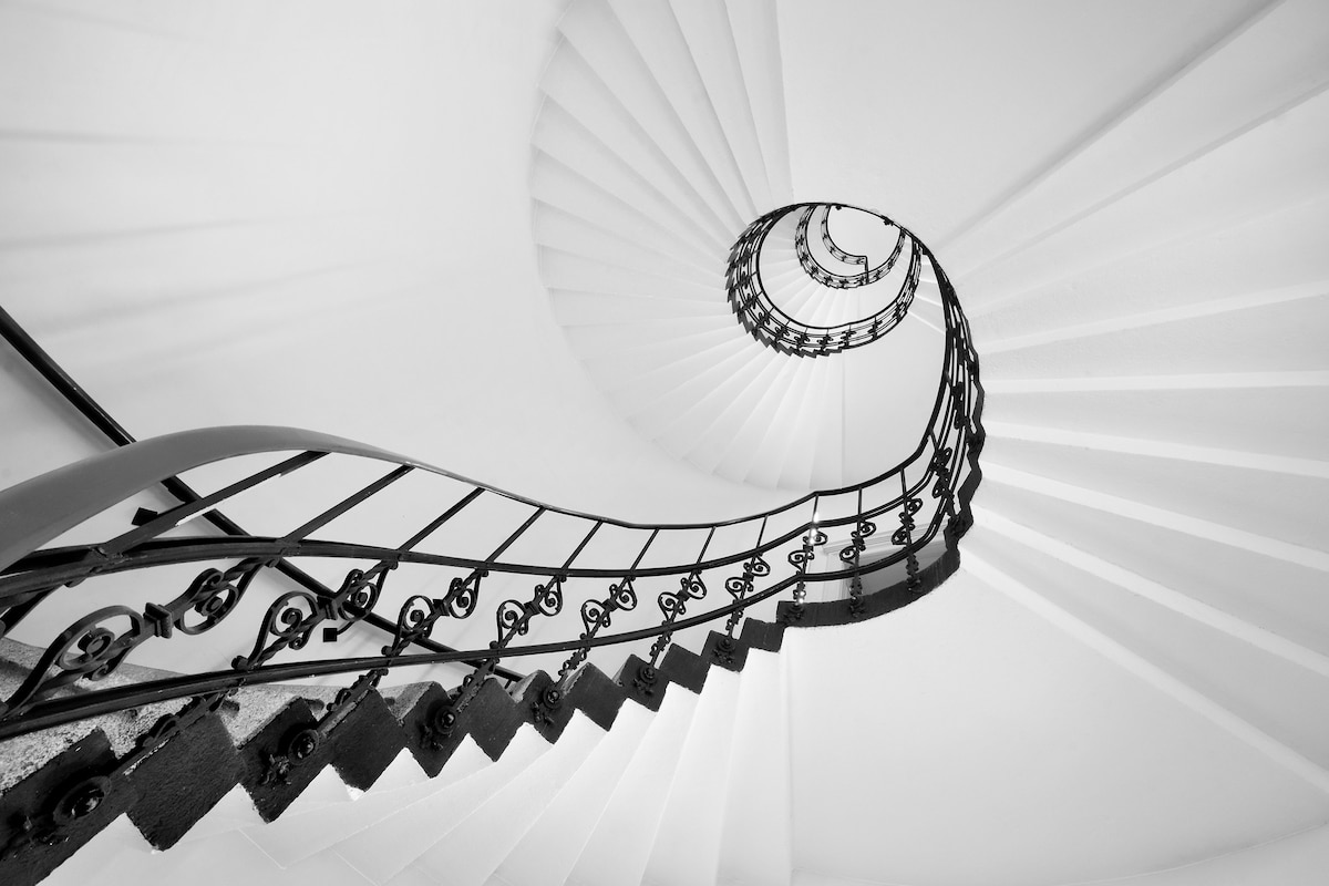 Black and White Photo of Spiral Staircase