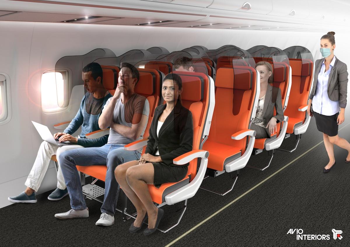 Asientos de avión con protectores para evitar la propagación de gérmenes