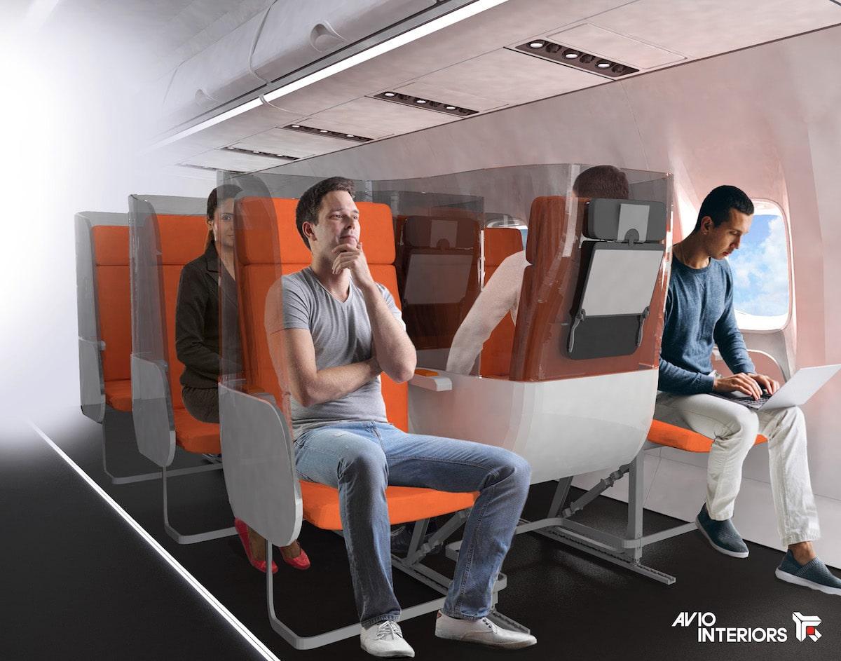 Asientos de avión en zigzag para evitar la propagación del coronavirus