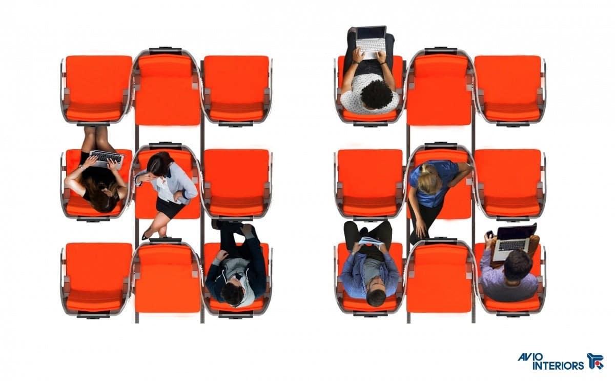Fila de asientos de avión en zigzag para prevenir la propagación de gérmenes