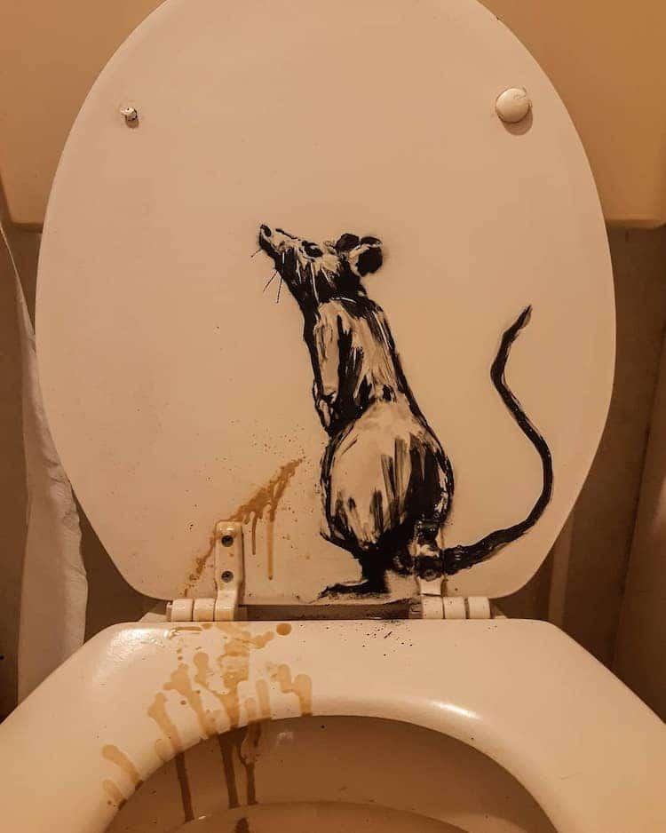 Banksy Rat Paint on Toilet Seat Lid
