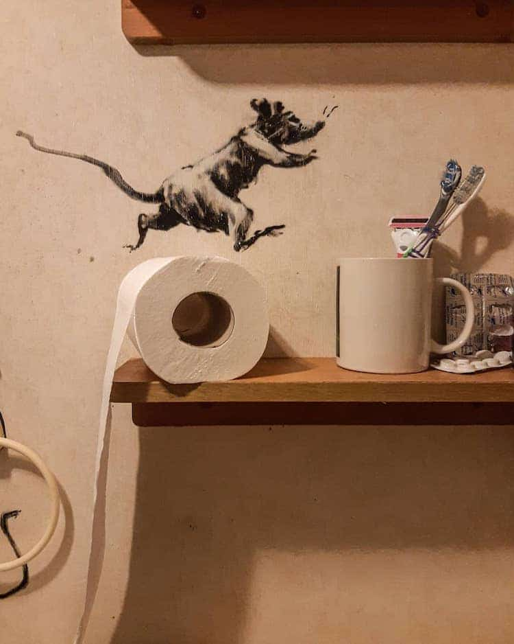 Banksy Rat Jumping Over Toilet Paper Roll