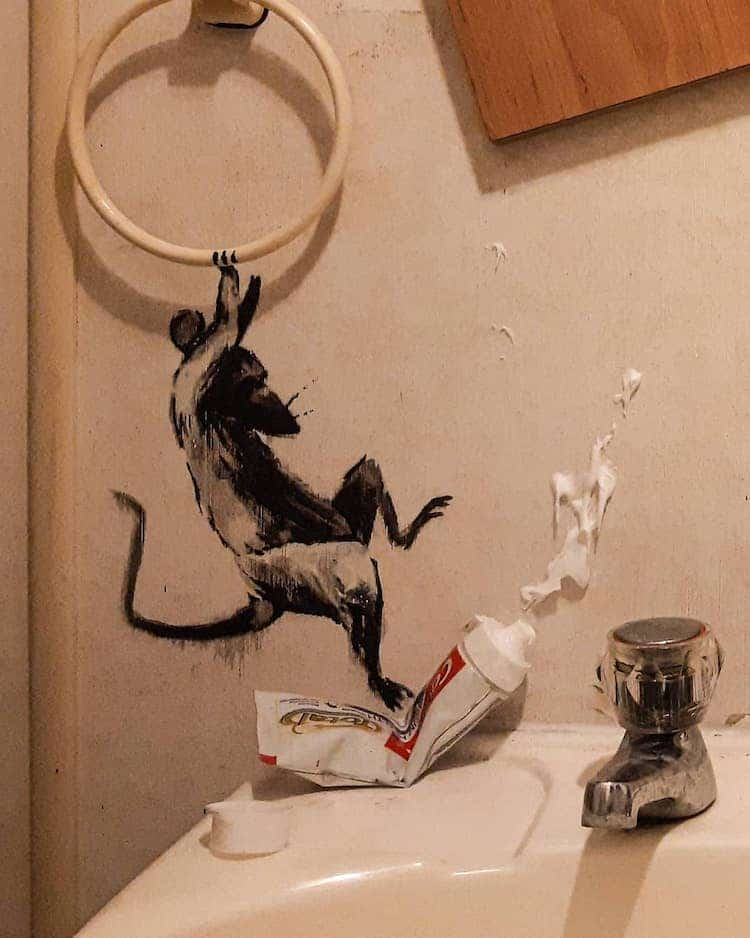 Painted Banksy Rat Stepping on Toothpaste