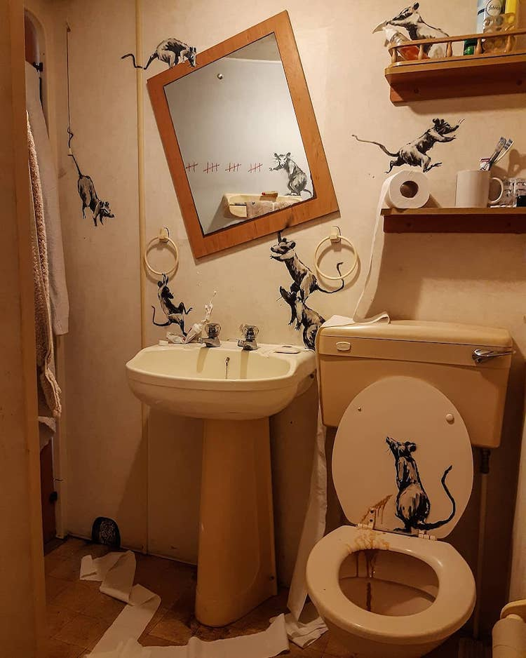 Bathroom Art Installation with Painted Rats by Banksy