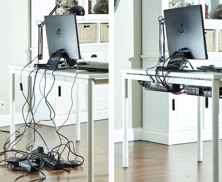 Basket to Organize Cables Under Desk