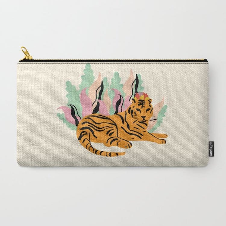 Canvas Carry-All Pouch with Tiger on It