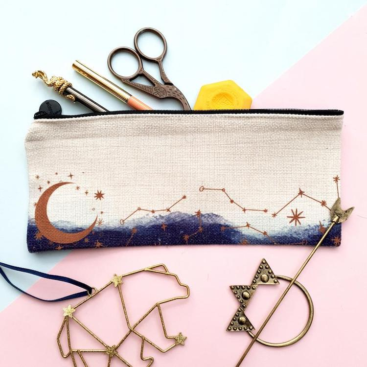 Celestial Moon and Stars Pencil Pouch