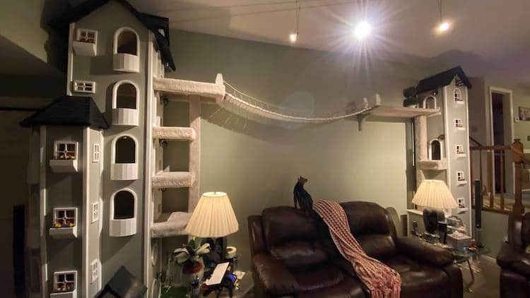 Man Builds Massive Cat Towers in Living Room