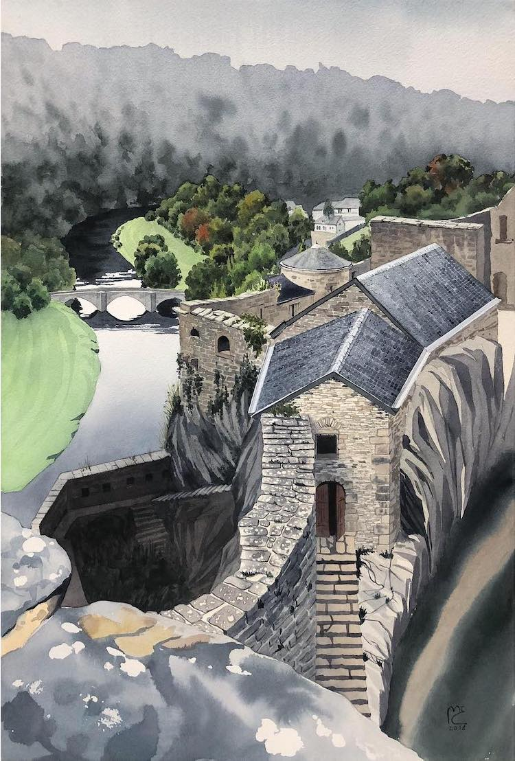 Watercolor Painting of Walls of Bouillon in Belgium by Eleanor Mill