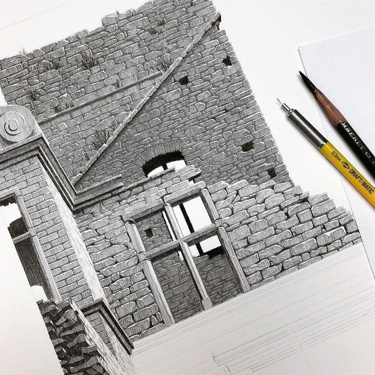 Pencil Sketch of Ungru Manor in Estonia by Eleanor Mill
