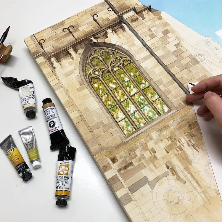 Watercolor Painting of Namur, Belgium by Eleanor Mill in Progress