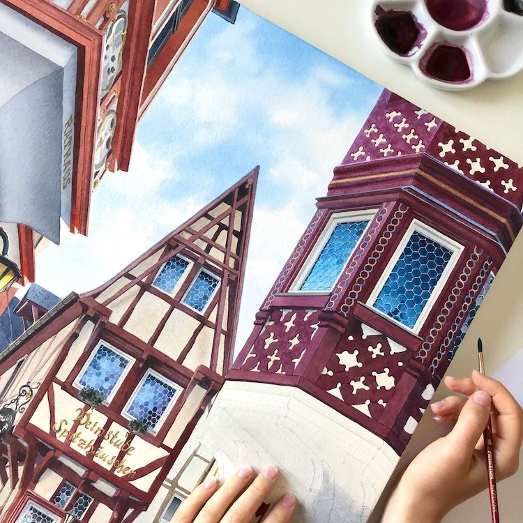 Watercolor Artist Painting Architecture