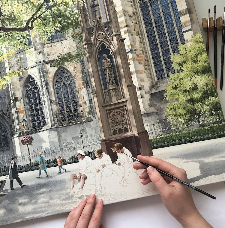 Artist Eleanor Mill Painting Picture of Aachen