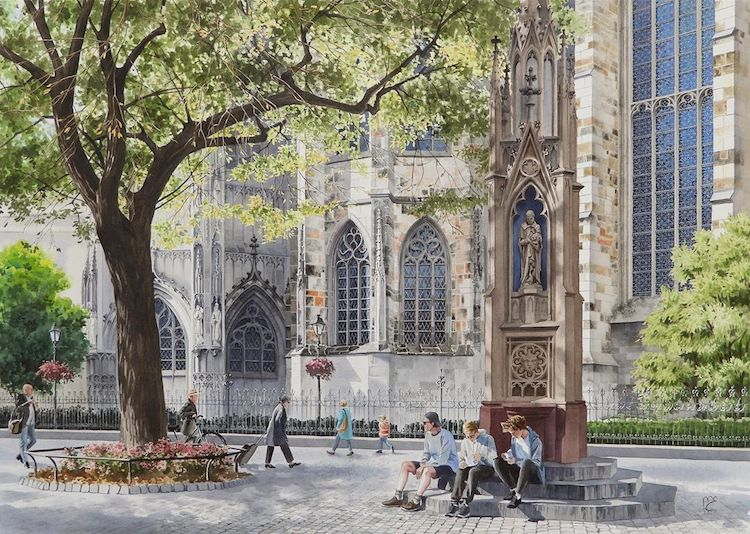 Watercolor painting of Aachen Cathedral