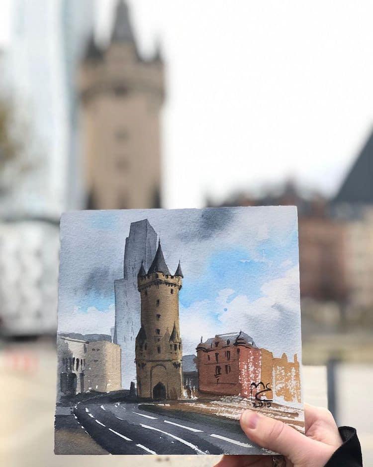 Watercolor Drawing of Frankfurt by Eleanor Mill