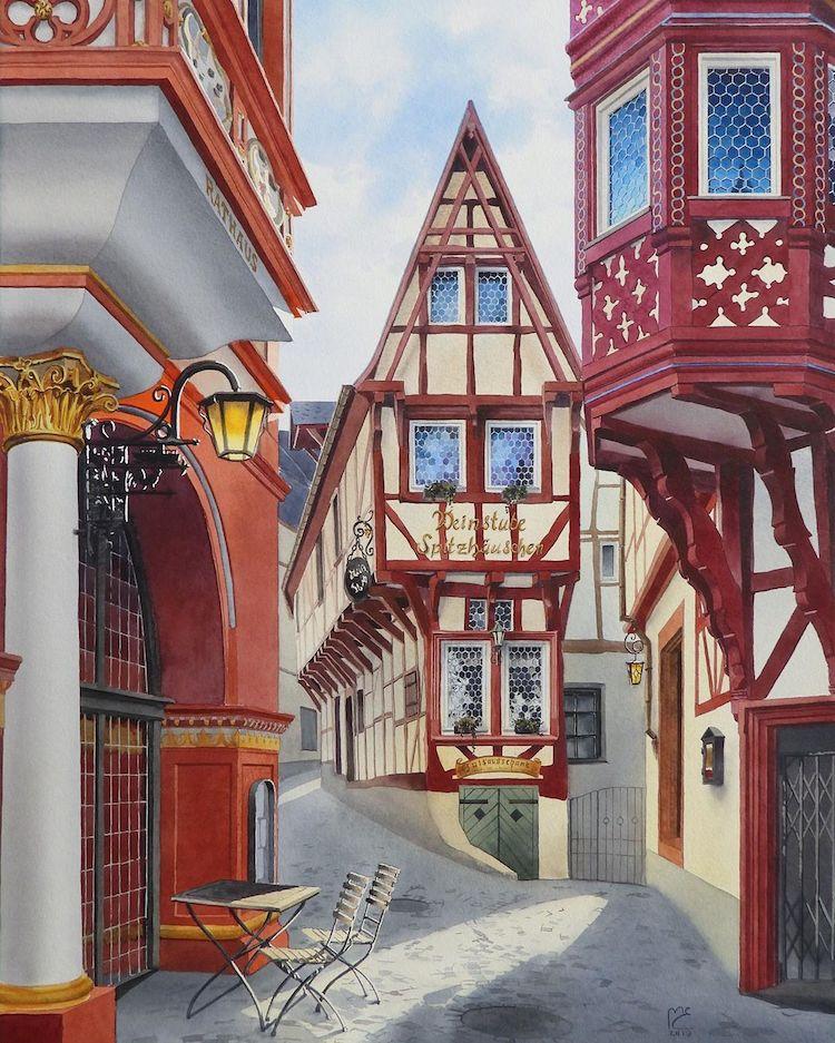 Watercolor painting of Bernkastel-Kues, Germany by Eleanor Mill