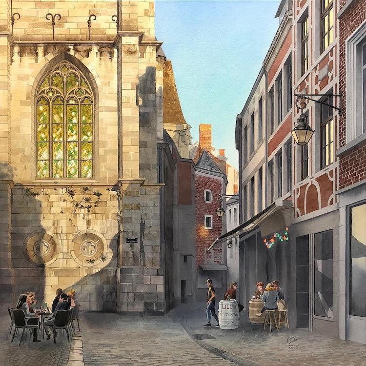 Watercolor Painting of Namur, Belgium by Eleanor Mill