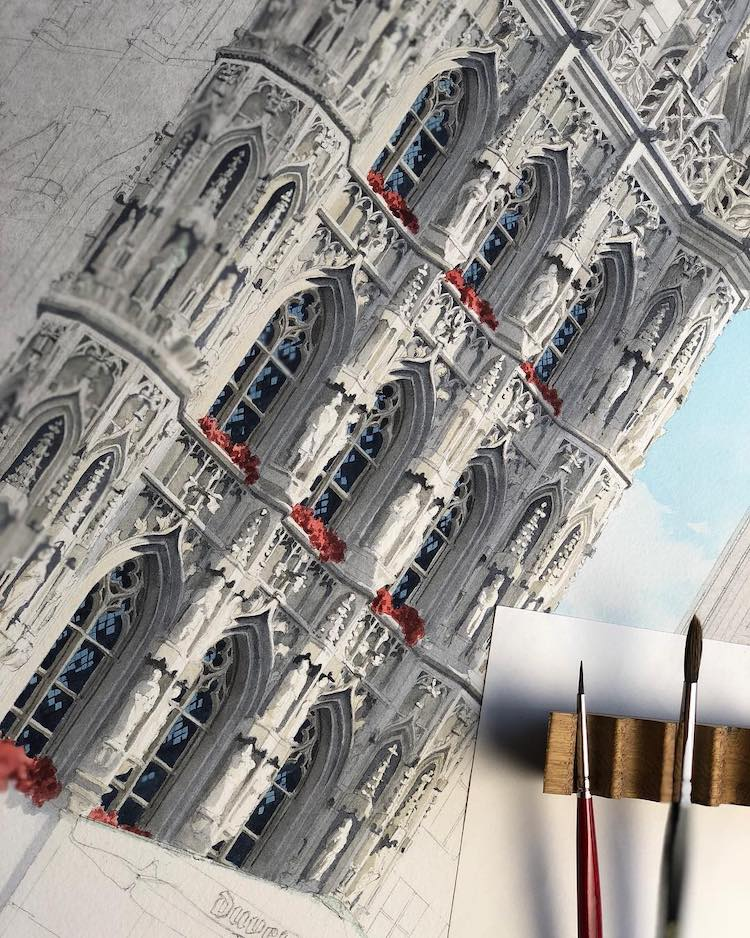 Watercolor Painting of Leuven Town Hall in Progress by Eleanor Mill