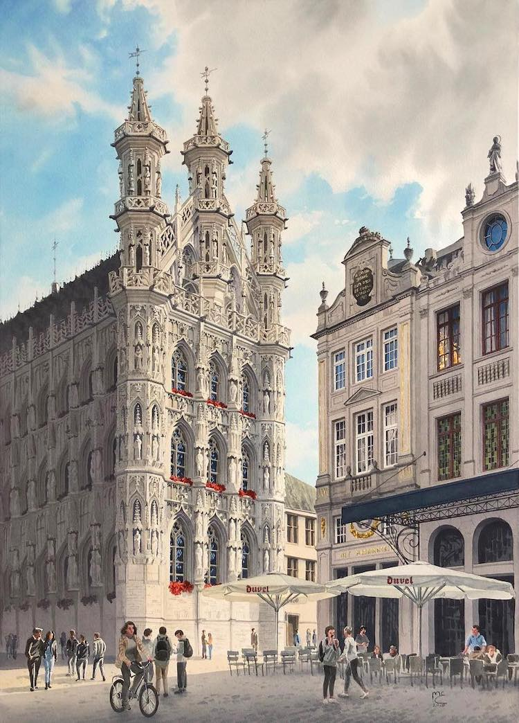 Leuven Town Hall Watercolor Painting by Eleanor Mill