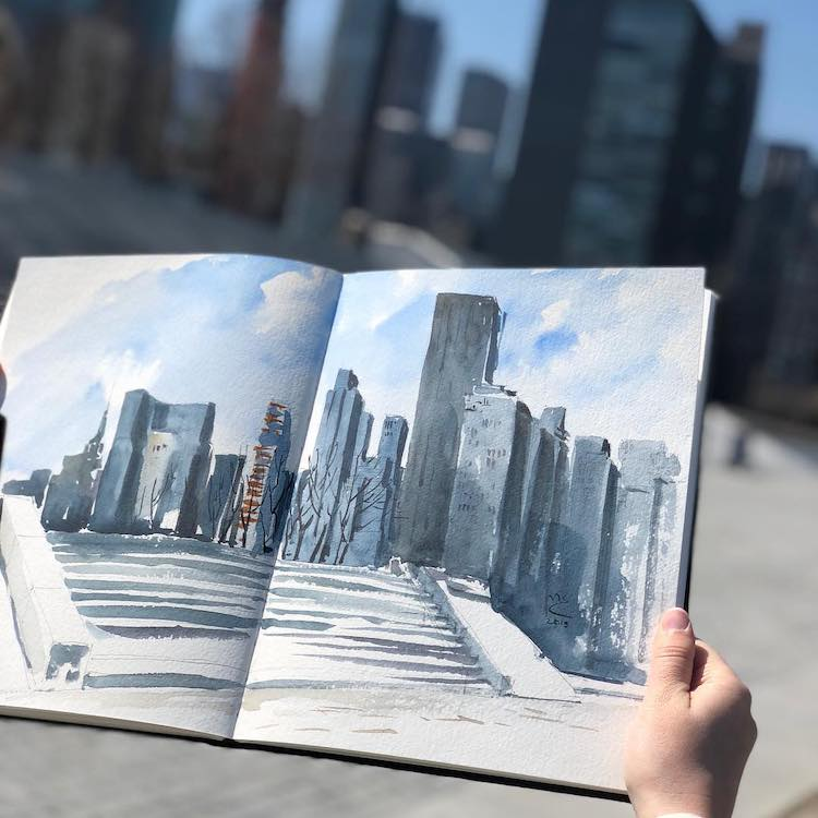 Watercolor Sketch of Roosevelt Island by Eleanor Mill