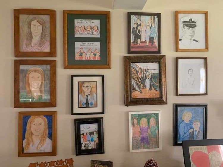 Family Portraits Crayon Drawings by Kristen Vogler