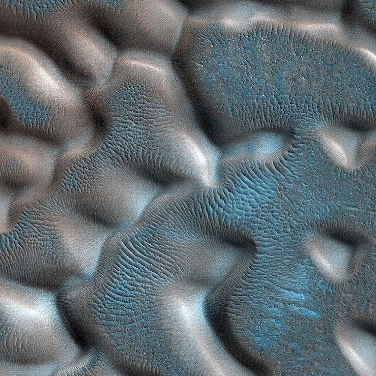Dunes in a crater in the icy Northern Hemisphere of Mars