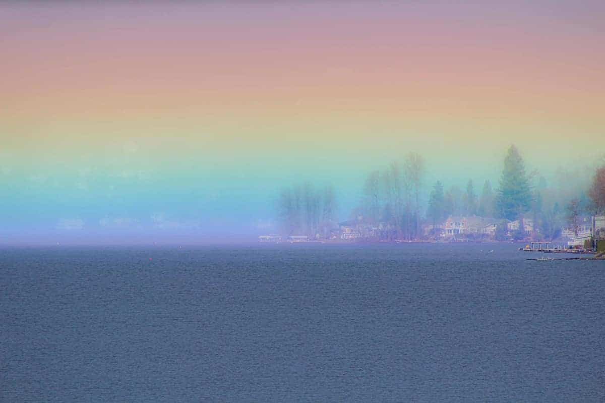 Horizontal Rainbow over Lake Sammamish in Washington State