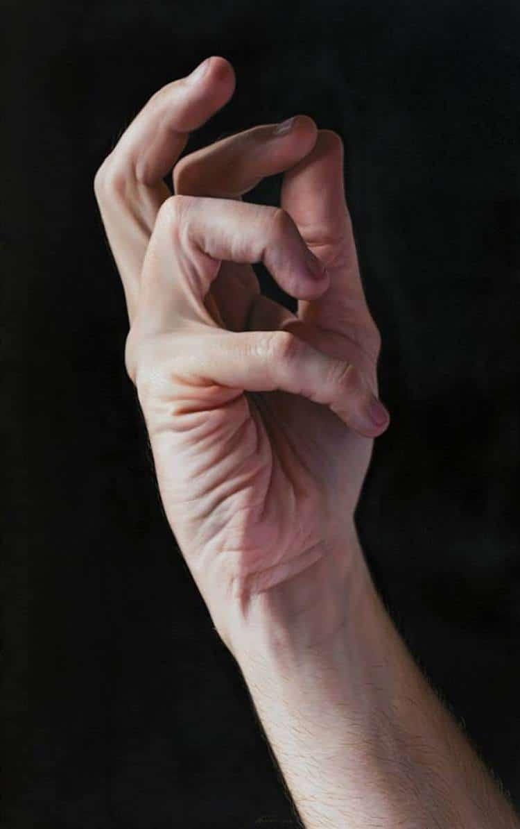 pintura de manos realista Javier Arizabalo Garcia