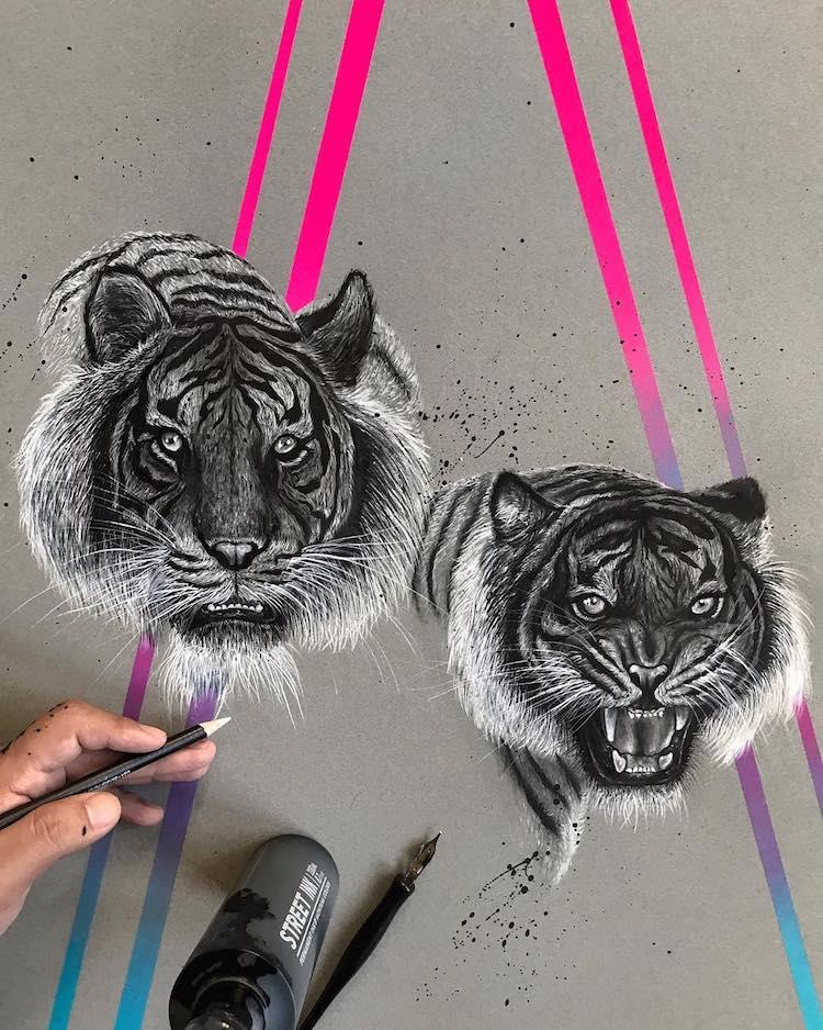 ilustraciones en tonos neon Jonathan Martinez