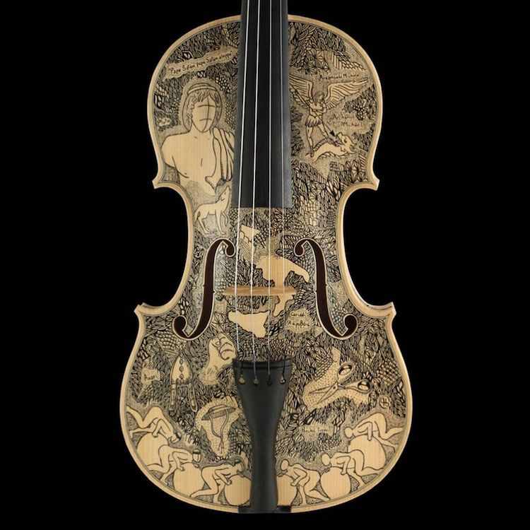 Decorated Violins by Leonardo Frigo