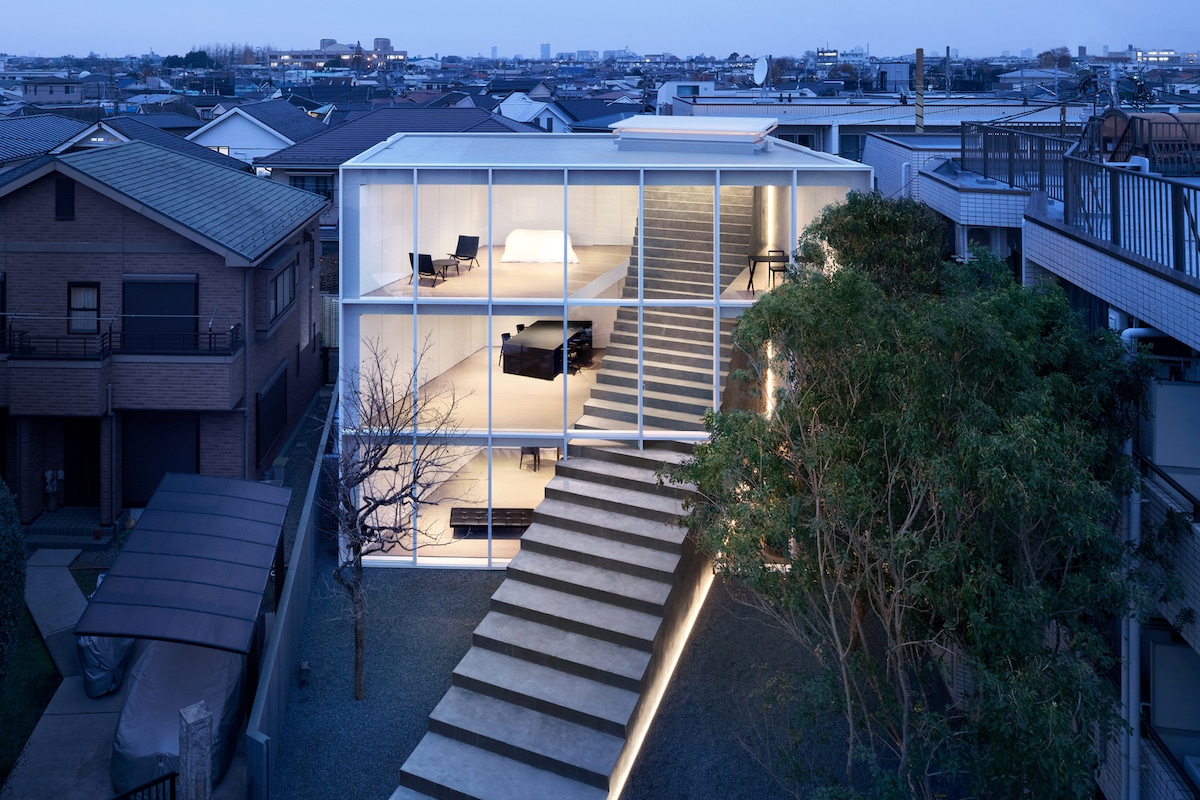 Contemporary Home in Tokyo with Stairway Running Through It