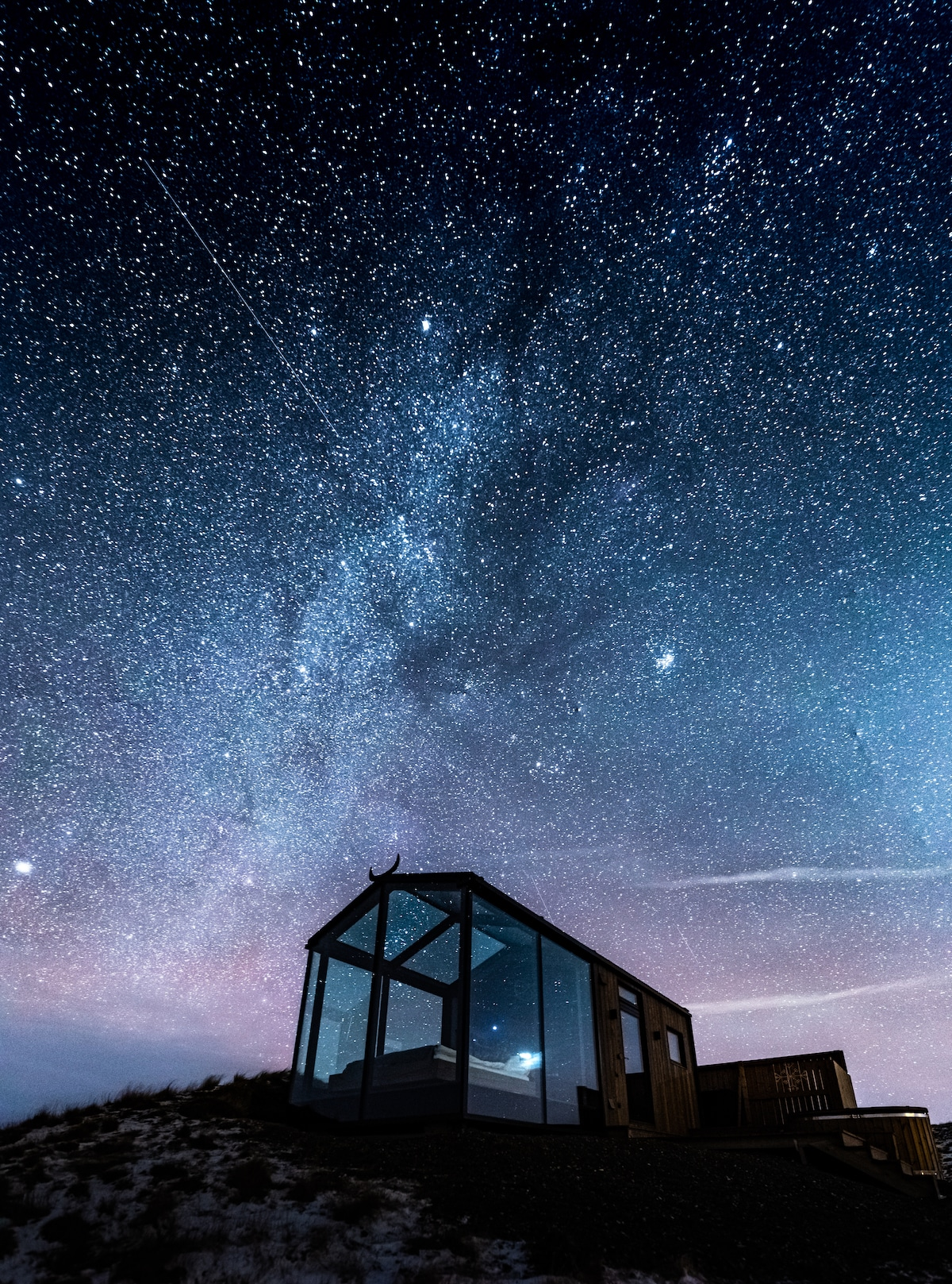 Glass Cabin in Iceland Under the Stars