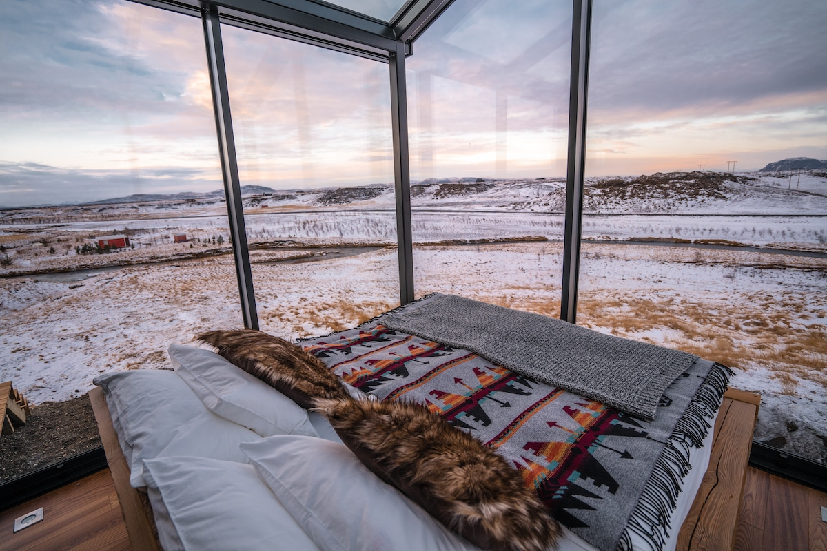 Glass Cabin at Panorama Glass Lodge in Iceland