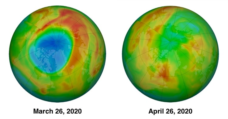Large Hole in the Arctic Ozone Layer Has Now Closed