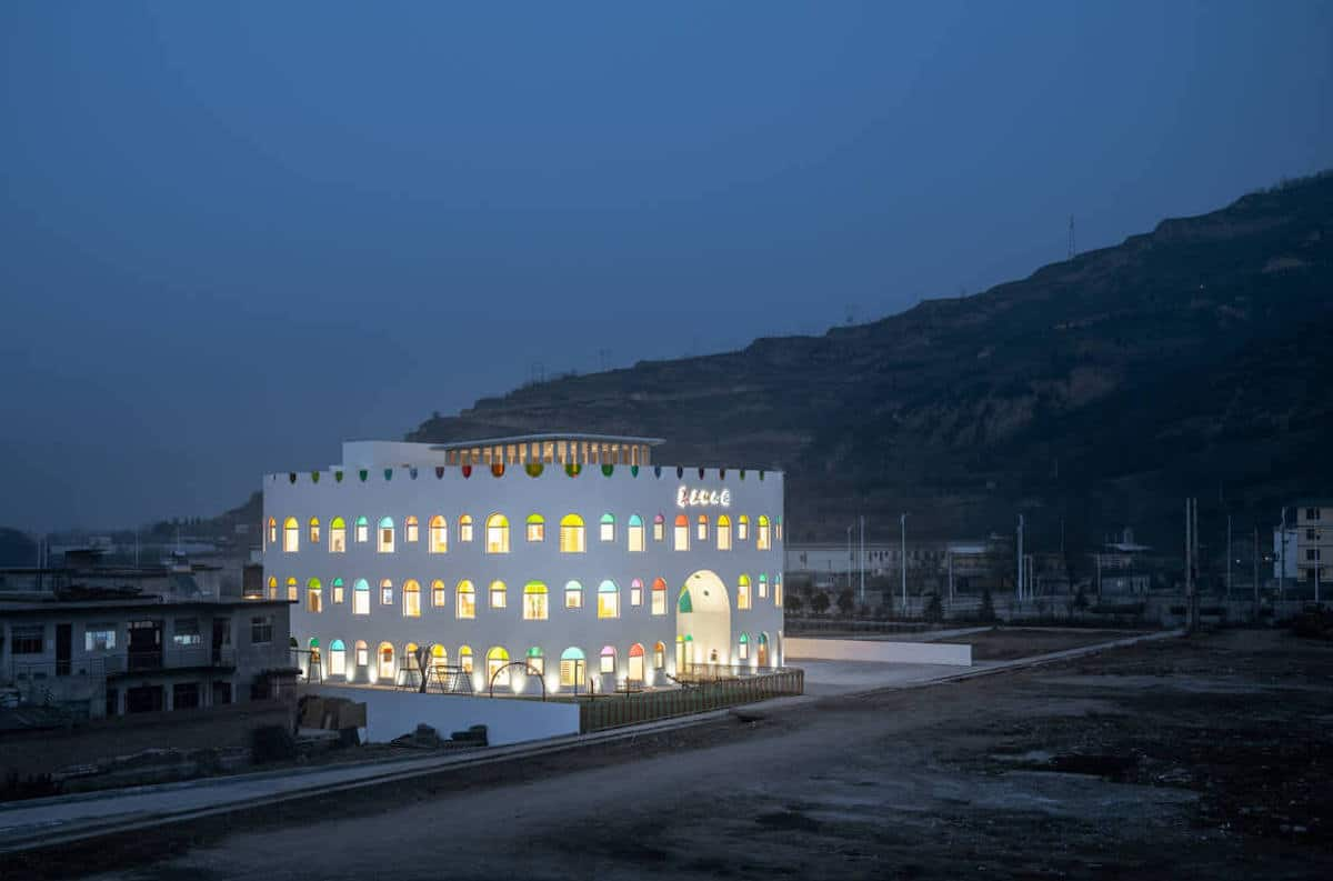 Rainbow Kindergarten at Night